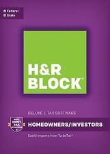 2016 H & R BLOCK Tax Software Deluxe With State for Homeowners / Investors.
