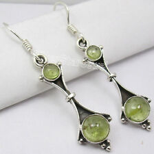 925 Sterling Silver GREEN PERIDOT Cabochon ANCIENT STYLE Dangle Earrings 4.6 CM