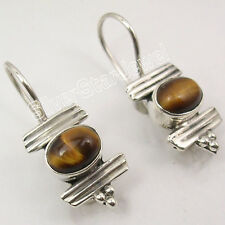 925 PURE Silver BROWN TIGER'S EYE URBAN STYLE NEW Dangle Earrings 3.5 CM UNISEX