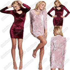 New Ladies Choker Keyhole v Neck Crushed Velvet Velour Bodycon Mini Tunic Dress