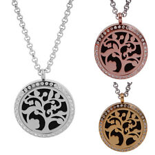 Stainless Steel Diffuser Essential Oil Tree of Life Locket Pendant Necklace