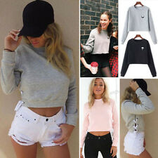 Women Casual Cropped Hoodie Pullover Sweatshirt Sweater Coat Sports Pullover Top