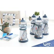 Sea Side Light Beacon Candle Holder Nautical Fish Net Anchor Decoration13.5cm