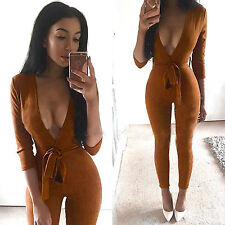 Sexy Women Plunge V Neck 3/4 Sleeve Playsuit Ladies Bodycon Jumpsuit Size 6-14