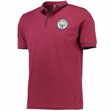 Manchester City Mens Gents Football Classic Slim Fit Polo Shirt Top - Maroon