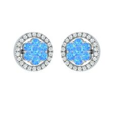 0.76 ct Round Topaz & Sapphire Solid Gold Cluster Flower Stud Earrings