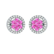 0.76 ct Round Cut Pink & White Sapphire Solid Gold Cluster Flower Stud Earrings
