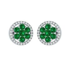 1.34 ct Round Emerald & Sapphire Solid Gold Cluster Flower Stud Earrings