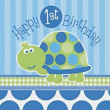 Boy Birthday Turtle Party Supplies, Boys 1st birthday napkins, loot bags, plates