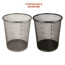 METAL MESH WASTE PAPER BIN WASTEBASKET FOR OFFICE HOME USE BEDROOM RUBBISH NEW