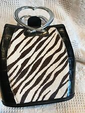 Vintage Brighton Faux Fur Zebra Stripe Croc Leather Silver RARE! Never Used