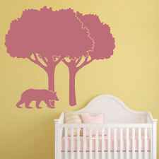 Tree Wall Sticker Scene Bear Wall Decal Kids Bedroom Living Room Home Decor