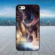 BEAUTIFUL DRAGON & GIRL Black Rubber Phone Case Cover Fits Iphone Models