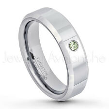 0.07ct Peridot Solitaire Ring, August Birthstone Ring,Tungsten Wedding Band #048
