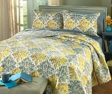 Reversible Quilt Set 3pc Comforter Shams Pillow Cases Queen King Size Bedding