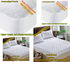 LUXURY QUILTED MATTRESS PROTECTOR & WATERPROOF TERRY TOWEL MATTRESS PROTECTOR