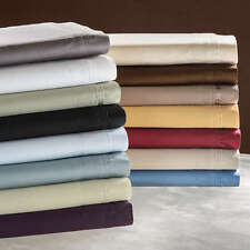 """600-Thread-Count 1PC Super Soft Fitted Sheet Solid 100% Cotton 17"""" Deep Pocket"""