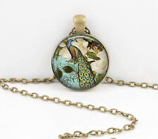 Peacock Painting Pendant Necklace Jewelry or Key Ring