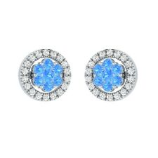 0.45 ct Round Blue Topaz & Sapphire Solid Gold Flower Cluster Stud Earrings