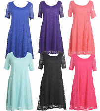 Woman Plus Size Tunic Floral Lace Lined Top Party Dress Size 14-28