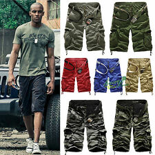 Mens Camo Cargo Sport Shorts Army Military Camouflage Casual Combat Trousers New