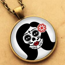 Sugar Skull Necklace - Goth Day Dead Rockabilly Pinup Girl Pendant Punk Tattoo 3