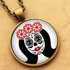 Sugar Skull Necklace - Goth Day Dead Rockabilly Pinup Girl Pendant Punk Tattoo 4