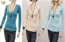 G1 Outlaw Long Sleeve Cotton Stretch deep V-Neck Knit Top Fitted Tee Shirt S M L