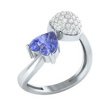 1.04ct Heart & Round Tanzanite & White Sapphire Solid Gold Heart Promise Ring