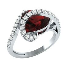 3.35ct Heart & Round Cut Garnet & White Sapphire Solid Gold Heart Promise Ring