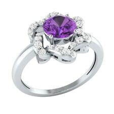 1.08ct Round Cut Amethyst & White Sapphire Solid Gold Flower Halo Ring