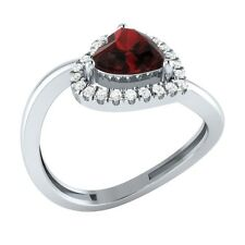 0.87ct Heart & Round Garnet & White Sapphire Solid Gold Engagement Wedding Ring
