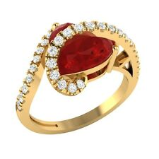 3.35ct Heart & Round Cut Ruby & White Sapphire Solid Gold Heart Promise Ring
