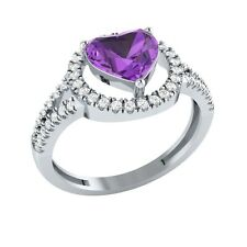 1.77ct Heart & Round Amethyst & White Sapphire Solid Gold Halo Engagement Ring