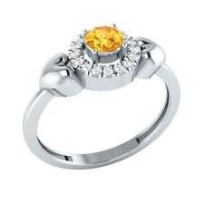 0.32ct Round Cut Citrine & White Sapphire Solid Gold Halo Heart Ring