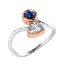 0.26 ct Round Cut Blue Sapphire & White Sapphire Solid Two Tone Bypass Ring