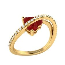 1.77ct Heart & Round Cut Ruby & White Sapphire Solid Gold Heart Promise Ring