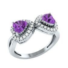 1.20ct Heart Shape Amethyst & Sapphire Solid Gold Double Heart Promise Ring