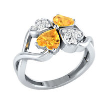 1.13ct Heart & Round Cut Citrine & White Sapphire Solid Gold Heart Promise Ring
