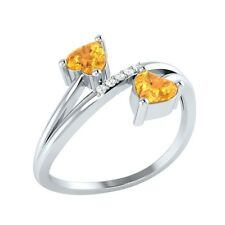 0.53 ct Heart & Round Cut Citrine & White Sapphire Solid Gold Bypass Ring