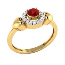 0.32ct Round Cut Ruby & White Sapphire Solid Gold Halo Heart Ring