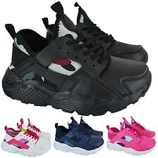 KIDS BOYS GIRLS SPORTS RUNNING LACE UP CAUSAL SHOCK ABSORBING SHOES TRAINER SIZE