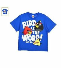 ANGRY BIRDS BIRD IS THE WORD! Youth Kids Blue T-Shirt - Red Bird - Licensed
