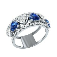 1.94ct Heart & Round Cut Blue Sapphire & White Sapphire Solid Gold Heart Ring