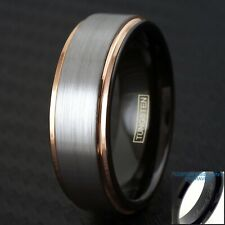 Engraved Tungsten Brushed Silver Stripe Rose Gold Edge Band Ring Size 5-13