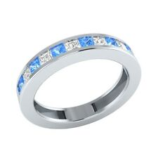 0.64 ct Princess Cut Blue Topaz & Sapphire Solid Gold Half Eternity Band Ring