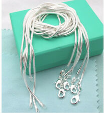 Free Shipping!Wholesale 5pcs 925Sterling Solid Sliver 1MM Snake Chains&Necklace