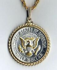 Kennedy Half Dollar (reverse) Silver & Gold Plated Coin Necklace #3