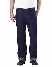 dickies mens flannel lined relaxed fit navy blue work jeans extra warm 30-44 new