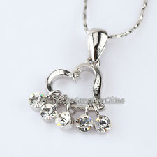 A1-P196 Silver  Love Heart Necklace Pendant Charm 18KGP Crystal